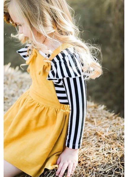 New Fall Girls Stunning Mustard Pinafore Dress - JEN'S KIDS BOUTIQUE