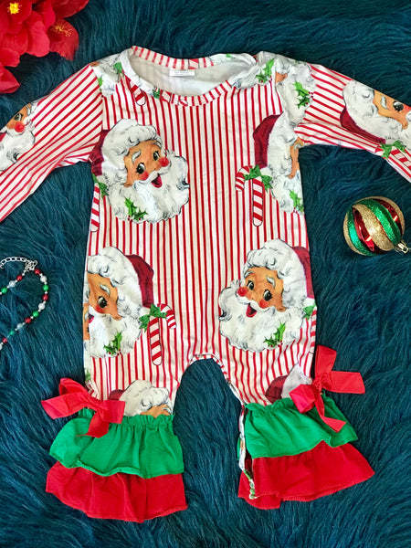 New Christmas Pajama Ruffle Santa Romper - JEN'S KIDS BOUTIQUE