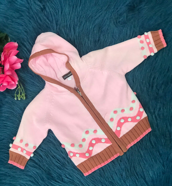 Rabbit Moon Pink & Brown Hooded Zipper Jacket