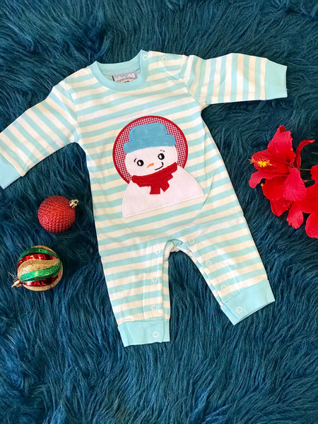 New Christmas Three Sisters Boys Blue & White Stripped Snowman Applique Nit Romper - JEN'S KIDS BOUTIQUE