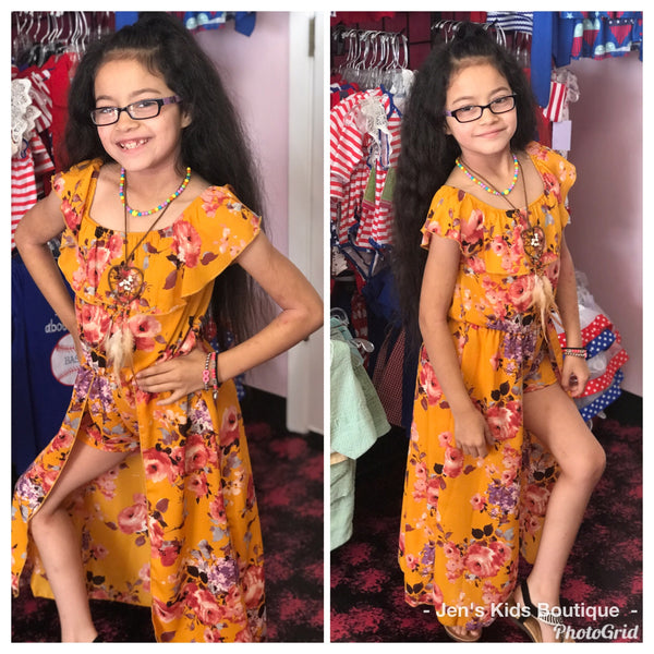 2019 Summer Angel Mustard Flower Girls Flay Away Maxi Romper with Dream Catcher Necklace