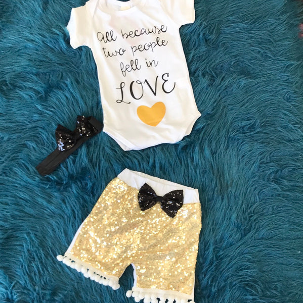 All Because Two People Fell In Love Gold Sequin Short Set