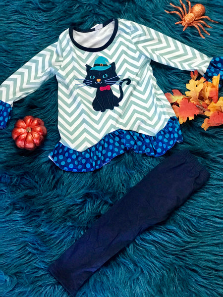 Fall Halloween Chevron Witch Cat Set - JEN'S KIDS BOUTIQUE