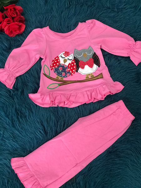 Sissymini Pink Two Piece Owl Set - JEN'S KIDS BOUTIQUE