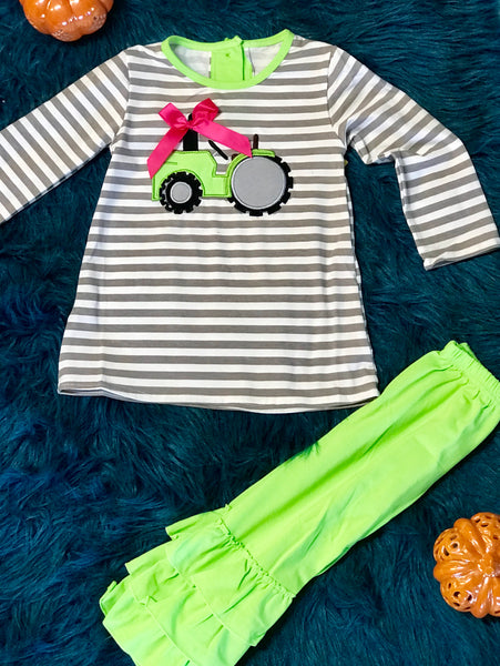 Fall My Little Green Tractor Ruffle Girls Pant Set - JEN'S KIDS BOUTIQUE