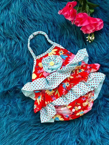 3db696967b0 2019 Spring   Summer Girly Bird By Mack Co Red Blue Floral Infant Bubble  Romper.