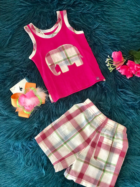 Summer Pink Girls Elephant Shorts Set - JEN'S KIDS BOUTIQUE