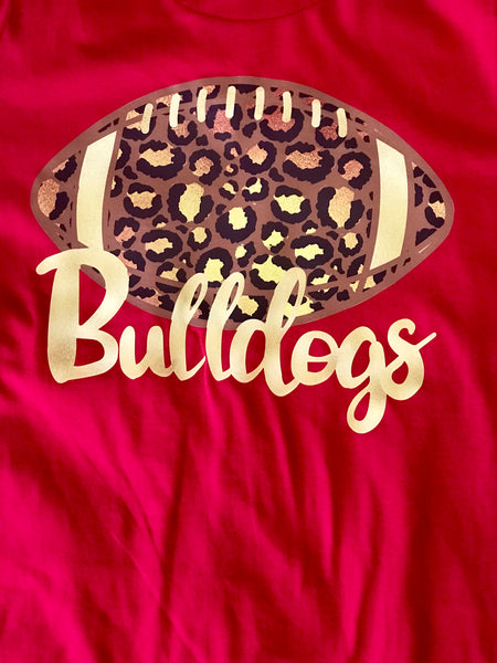Fall Bulldogs Football Red Cheetah Youth Shirt - JEN'S KIDS BOUTIQUE
