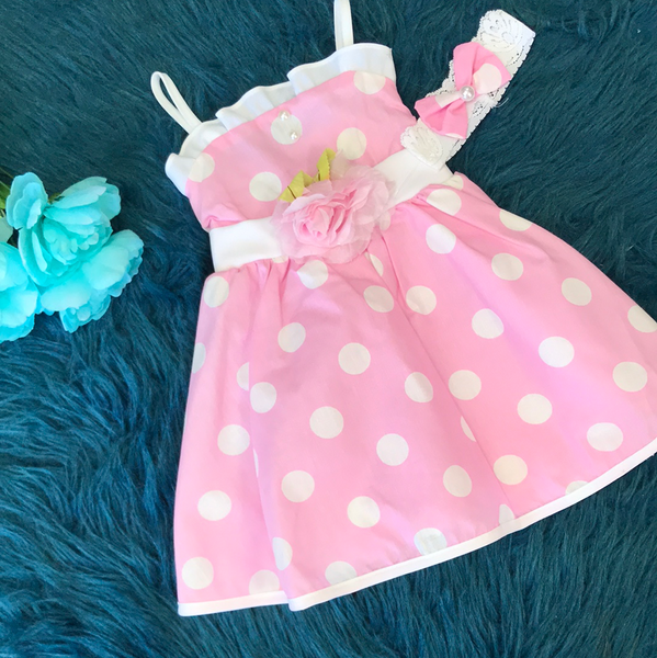 Pink Polka Dot Pinup Dress w/ Flower CLS
