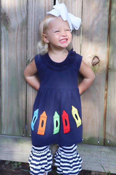 Back To School Navy Crayons With Stripped Ruffle Capri Pants - JEN'S KIDS BOUTIQUE