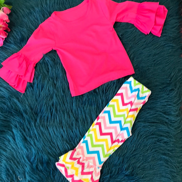 Pink Shirt w/ Colorful Chevron Pants