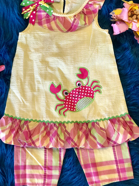 Spring Fun adorable Yellow Crab Capri Shorts Set - JEN'S KIDS BOUTIQUE