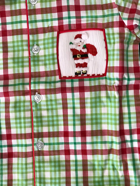 2018 Christmas Three Sisters Santa's Toy Bag Smocked Boys Pajamas - JEN'S KIDS BOUTIQUE