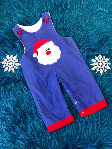 B & A  Christmas Blue Santa Boys Romper - JEN'S KIDS BOUTIQUE