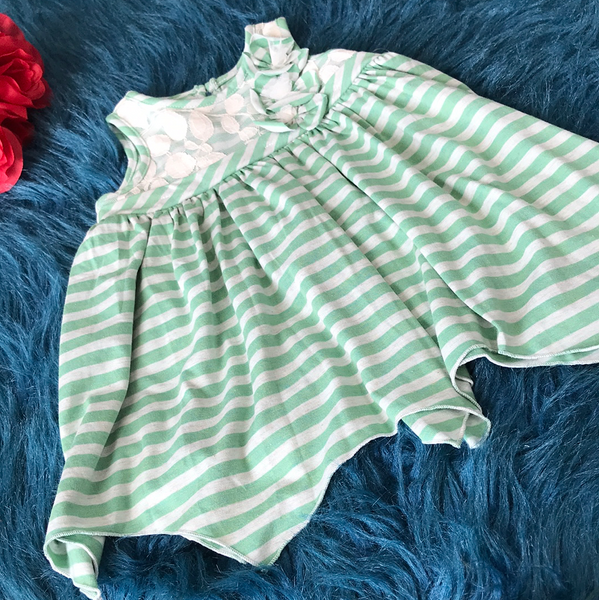 Spring & Summer Isobella & Chloe Green Stripped Knit Dress - JEN'S KIDS BOUTIQUE