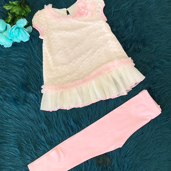 Bonnie Jean Light Pink & White Legging Set ECL - JEN'S KIDS BOUTIQUE