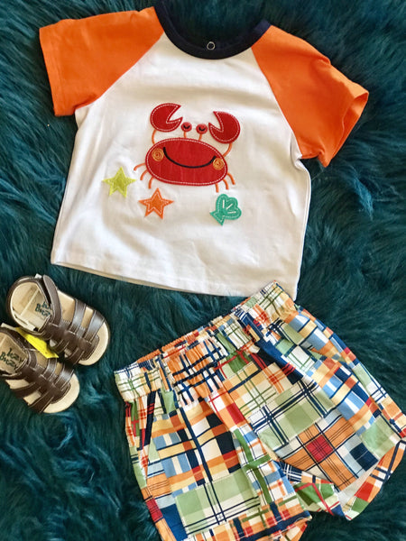 2018 Summer Boys Fun Crab Toddler Shorts Set - JEN'S KIDS BOUTIQUE
