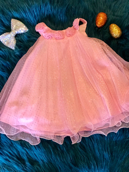 Spring Perfect Adorable Pink Sparkle Dress ECL - JEN'S KIDS BOUTIQUE