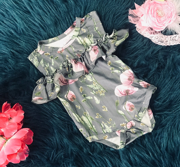 Spring Cloudy Spring Cold Shoulder Ruffle Romper By Mila Rose - JEN'S KIDS BOUTIQUE