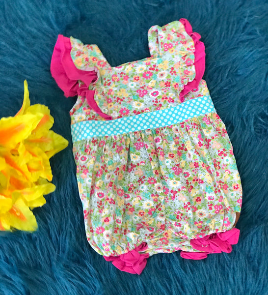 Millie Jay Vintage Floral Infant Romper - JEN'S KIDS BOUTIQUE