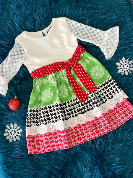 ec36e37c352 Counting Daisies By Rare Editions Green Red Christmas Dress - JEN S KIDS  BOUTIQUE