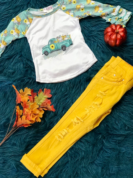 Fall Back To School Girl's Bulk Stretch Denim Jeans w/ Pocket Taping, Roll-up, & 2 Button Waistband - JEN'S KIDS BOUTIQUE