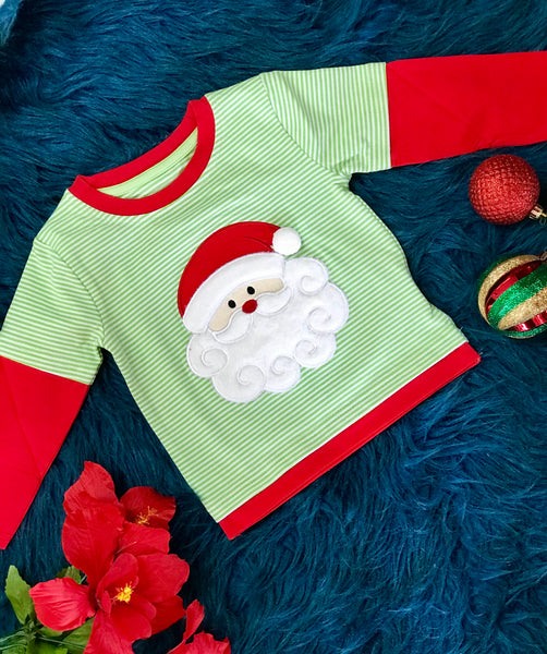New Fall Be Mine Boys Stripped Santa Long Sleeve Applique Shirt - JEN'S KIDS BOUTIQUE