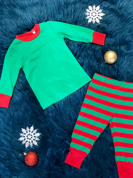 Serendipity 2017 Fall Christmas Green & Red Stripped Pajamas - JEN'S KIDS BOUTIQUE
