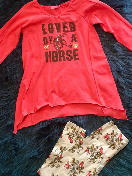 Haven Girl 2017 Coral Horse Natalie Tunic Legging Set - JEN'S KIDS BOUTIQUE
