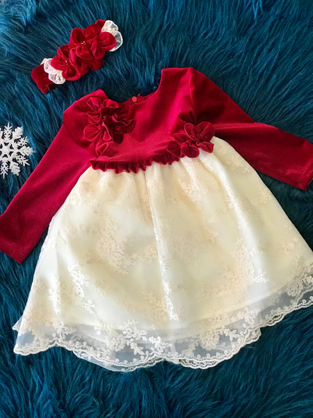 Isobella & Chloe Red Velvet Top With Cream Lace Bottom Dress - JEN'S KIDS BOUTIQUE