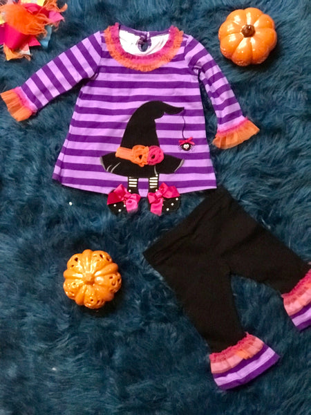 Bonnie Baby 2017 Halloween Purple/Striped Witches Hat/Foot Pant Set - JEN'S KIDS BOUTIQUE