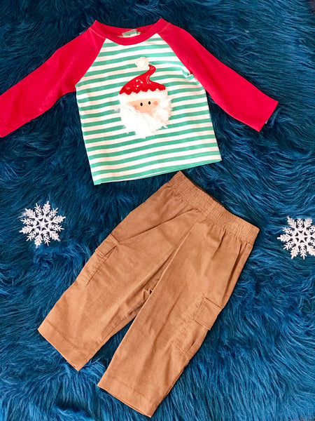 Boys & Berries By Peaches N Cream Christmas Holiday Santa Shirt and Pants - JEN'S KIDS BOUTIQUE