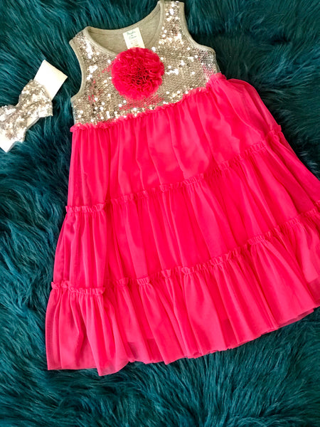 Peaches N Cream Hot Pink Silver Sparkle Dress C - JEN'S KIDS BOUTIQUE