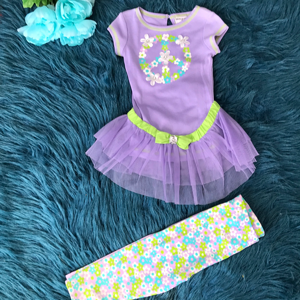 Purple Peace Sign Legging Outfit w/ Removable Tutu CLS