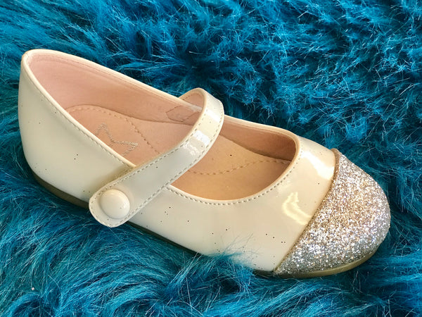 Spring Lara Bebe Shining Ivory & Gold Girls Flats - JEN'S KIDS BOUTIQUE