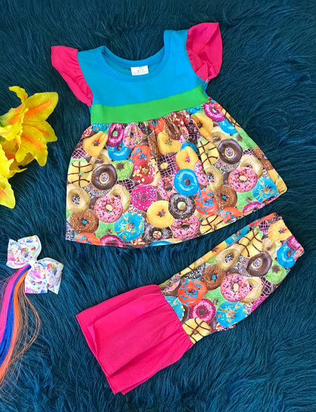 Summer Fun Colorful Donuts Bell Bottom Set - JEN'S KIDS BOUTIQUE