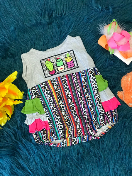 Summer Fun Cactus & Leopard Print Ruffle Bubble Romper - JEN'S KIDS BOUTIQUE
