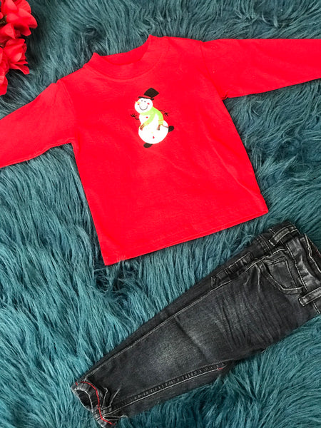 Baby Luigi Red Long Sleeve Snowman Shirt CH