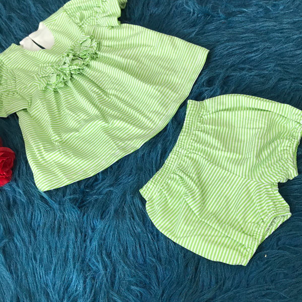 Spring & Summer Isobella & Chloe Green Stripped Two Piece Shorts Set - JEN'S KIDS BOUTIQUE