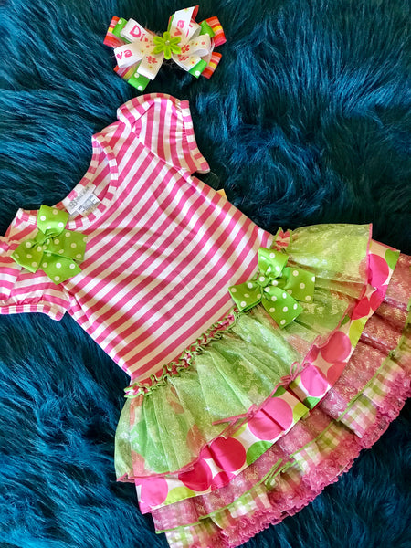 Spring Adorable Stripped Pink & Lime Ruffle Dress - JEN'S KIDS BOUTIQUE