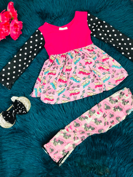 Hugs & Kisses Love Minnie Valentines Ballet Leggings Set - JEN'S KIDS BOUTIQUE