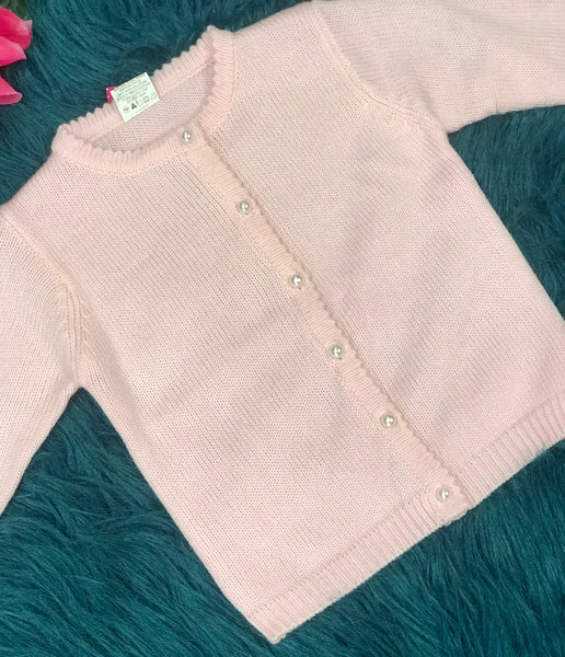 Soft Pink Sweater w/ Pearl Buttons - JEN'S KIDS BOUTIQUE