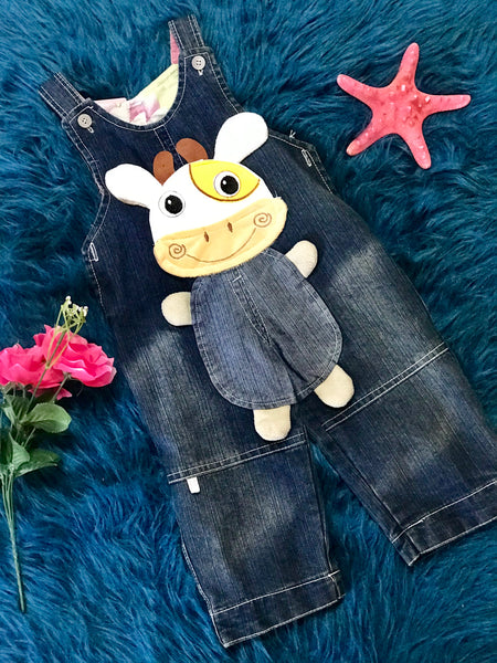 Girls Spring Cow Overalls - JEN'S KIDS BOUTIQUE