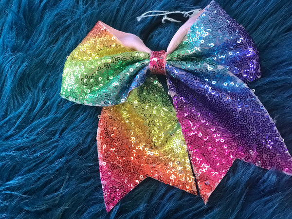 New Rainbow Sequin Pony Tail Bow - JEN'S KIDS BOUTIQUE