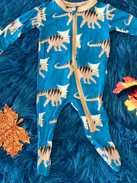 New Fall Kickee Pants Zipper Footie (Heritage Blue Koamoceratops ) - JEN'S KIDS BOUTIQUE