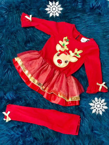 Rare E Christmas Tutu Reindeer Pant Set - JEN'S KIDS BOUTIQUE
