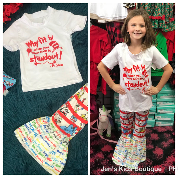 Character Fun Dr Seuss Shirt & Bell Bottom Pant Set - JEN'S KIDS BOUTIQUE