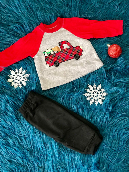 Christmas Boys Puppy In The Truck Pant Set CH - JEN'S KIDS BOUTIQUE