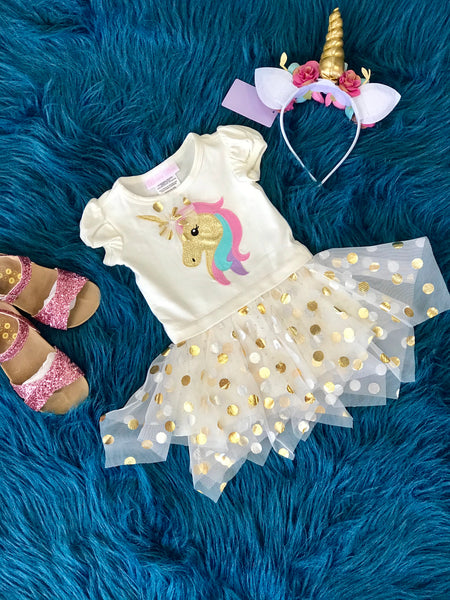 2018 Fall Unicorn TuTu Applique Dress - JEN'S KIDS BOUTIQUE