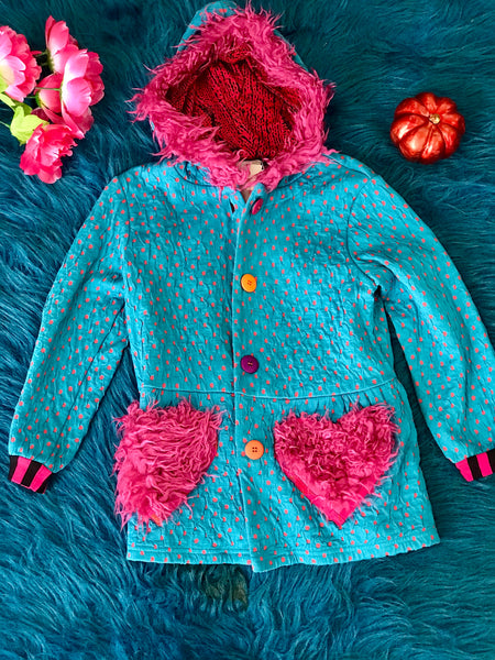 Zaza Couture Turquoise & Hot Pink Heart Hooded & Fur Coat - JEN'S KIDS BOUTIQUE